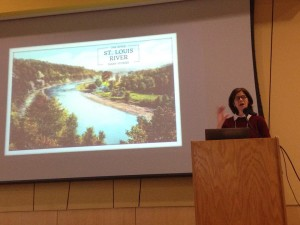Jennifer Moore presenting at 6th Annual St. Louis River Summit on the campus of UW-Superior