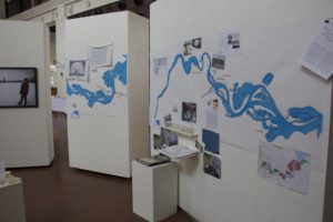Scale maps of the St. Louis River on display at the Duluth Depot. Photo courtesy of Jenna Trenberth.