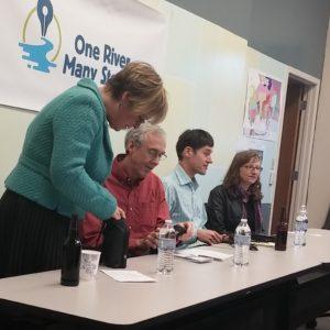"Panelists at ""Storytelling across Platforms."" Photo courtesy of Jenna Trenberth."